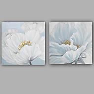 Kézzel festett Absztrakt Virágos / Botanikus Festmények,Klasszikus Európai stílus Két elem Vászon Hang festett olajfestmény For