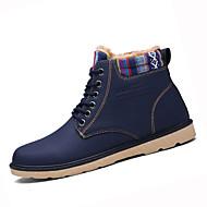 Men's Boots Winter Comfort PU Casual Flat Heel Lace-up Black Blue Khaki Walking