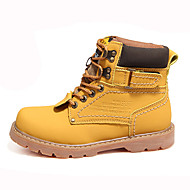 Men's Boots Winter Comfort PU Casual Flat Heel Lace-up Brown Yellow Other
