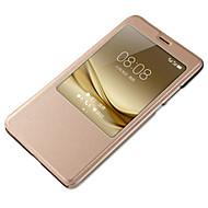 のために ウィンドウ付き オートオン/オフ ケース フルボディー ケース ソリッドカラー ハード PUレザー のために HuaweiHuawei社P9 Huawei社P9ライト Huawei P9 Plus Huawei社P8 Huawei P8 Lite Huawei
