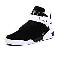 גברים-נעלי ספורט-PU-נוחות-שחור / לבן / שחור ולבן-קז'ואל-עקב שטוח