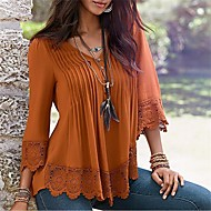 T-shirt Da donna Casual Sensuale Semplice Autunno Inverno,Tinta unita A V Cotone Blu Rosa Nero Verde Arancione Maniche a ¾ Medio spessore