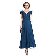 2017 Lanting Bride® Sheath / Column Mother of the Bride Dress - Elegant Tea-length Short Sleeve Chiffon with Pleats