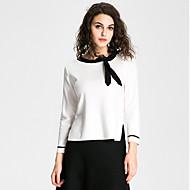 Damen Standard Pullover-Ausgehen Lässig/Alltäglich Arbeit Sexy Street Schick Anspruchsvoll Einfarbig Weiß Schwarz Rundhalsausschnitt