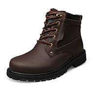 Kényelmes-Lapos-Női cipő-Csizmák-Alkalmi-PU-Fekete Barna Sárga