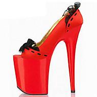 Feminino-Saltos-Conforto Inovador Sapatos clube-Salto Agulha Plataforma-Preto Vermelho-Couro Ecológico-Casamento Social Festas & Noite