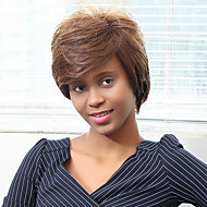 Oblique Bangs Short Straight Human Hair Wig for Black Women
