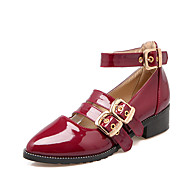 Women's Heels Spring Summer Fall Mary Jane PU Casual Chunky Heel Buckle Black Red Gold