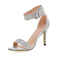 Women's Sandals Spring Summer Fall Glitter Wedding Casual Party & Evening Stiletto Heel Sequin Black Silver