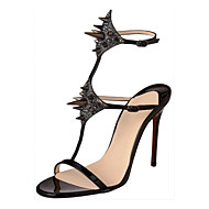 Women's Sandals Spring Summer Fall Other Patent Leather Office & Career Party & Evening Casual Stiletto Heel Crystal RivetBlack Silver