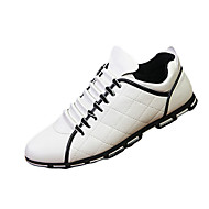 Men's Sneakers Spring Fall Comfort PU Casual Flat Heel Ruched Black Blue White