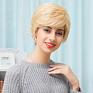 Charming Slightly Texture Blonde Short Capless Wigs Natural Wavy Human Hair