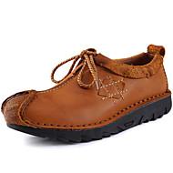 גברים-נעלי אוקספורד-עור נאפה Leather-נוחות-חום-משרד ועבודה יומיומי מסיבה וערב-עקב שטוח