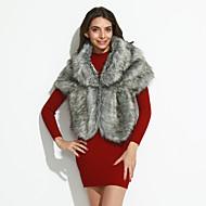 Uden ærmer Dame Vinter Vintage Natklub Kappe,Imiteret pels