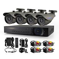 Yanse® 4ch 720p hd kablet cctv kamera dvr kit ir vandtæt sikkerhedssystem hjemme 1.0mp ahd-m
