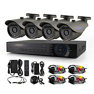 Yanse® 4ch 720p hd cablat cctv camera dvr kit ir impermeabil sistem de securitate home 1.0mp ahd-m