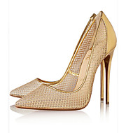 Women's Heels Spring Summer Fall Tulle Office & Career Casual Party & Evening Stiletto Heel Hollow-out Gold Black