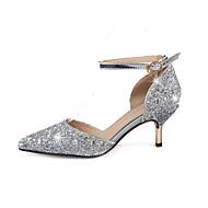 Dame-Glitter-StiletthælHøye hæler-Bryllup Kontor og arbeid Fest/aften-Gull Sølv