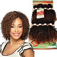 カーリー三つ編み カール 人毛のかぎ針編みひも ブラック ブラック/ストロベリーブロンド ブラック/ミディアムオーバーン ブラック/バーガンディ ヘアエクステンション 8 インチ 髪の三つ編み