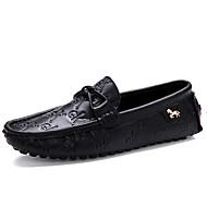 גברים-נעליים ללא שרוכים-עור-נוחות-שחור לבן-משרד ועבודה יומיומי-עקב שטוח
