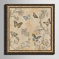 E-HOME® Framed Canvas Art Retro Flowers And Butterflies Framed Canvas Print One Pcs