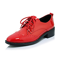Women's Oxfords Spring Summer Fall Winter Others Cowhide Patent Leather Office & Career Dress Casual Low Heel Lace-up Black Red