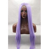 コスプレグルーレスレースの前部かつら送料無料ハロウィーンファッション長い紫色のかつらストレートヘア耐熱syntehticかつら