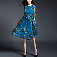 Women's Casual/Daily Beach Street chic Sheath Chiffon Dress Print Knee-length  Length Sleeve Blue Polyester Spring /Summer