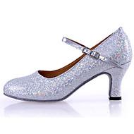 Chaussures de danse(Argent Or) -Personnalisables-Talon Personnalisé-Cuir Paillette Brillante-Latines