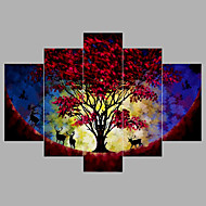 Handgeschilderde Abstract Olie schilderijen,Modern Vijf panelen Canvas Hang-geschilderd olieverfschilderij For Huisdecoratie