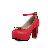 נשים-עקבים-דמוי עור-אחר נוחות חדשני גלדיאטור-שחור ורוד אדום לבן-חתונה משרד ועבודה שמלה מסיבה וערב-עקב עבה