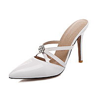 Women's Sandals Spring Summer Fall Patent Leather Office & Career Party & Evening Stiletto Heel CrystalWhite Black Yellow Blushing Pink
