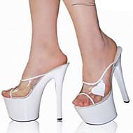 Feminino-Sandálias-Conforto Inovador Sapatos clube-Salto Agulha Plataforma-Branco-PVC Couro Ecológico-Casamento Social Festas & Noite