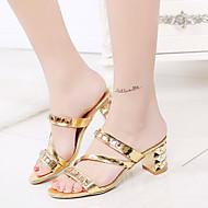 נשים-סנדלים-דמוי עור-רצועה אחורית נעלי מועדון-כסוף זהב-שטח משרד ועבודה יומיומי-עקב נמוך עקב עבה