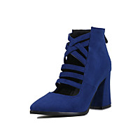 Women's Boots Spring Summer Fall Winter Gladiator Novelty Suede Office & Career Dress Chunky Heel Braided Strap Zipper Black Blue Red