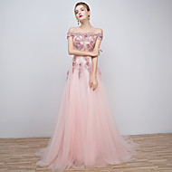 Formal Evening Dress - Floral A-line Off-the-shoulder Floor-length Tulle with Beading