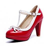 Damen-High Heels-Büro Kleid Party & Festivität-Kunstleder-Blockabsatz-Komfort-Schwarz Rot Weiß