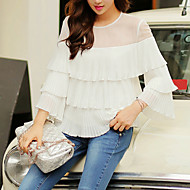 DABUWAWA Women's Going out / Holiday/ Party / Street chic Blouse,Solid Round Neck Long Sleeve