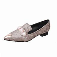 플랫-사무실 & 커리어 드레스 캐쥬얼-여성-조명 신발-PU-플랫-블랙 그린 그레이