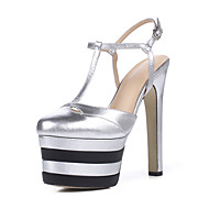 Women's Sandals Spring Summer Fall Club Shoes Cowhide Office & Career Party & Evening Dress Stiletto Heel Buckle Black Brown Green Silver