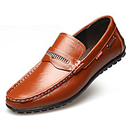 Herre-Lær-Flat hæl-Komfort Mokkasin-一脚蹬鞋、懒人鞋-Friluft Kontor og arbeid Fritid Fest/aften-Svart Gul Brun Mørkebrun