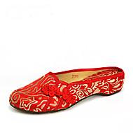 Damen-Slippers & Flip-Flops-Outddor Kleid Lässig-Seide-Flacher Absatz-Bestickte Schuhe-Rot