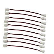 10pcs / pack Streifen mit Draht solderless Streifen führte 8mm breit 3528 2835 einzelne Farbe flex Snap-Down-2pin Leiter führte