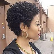 Femme Perruques capless à cheveux humains Noir Court Frisés Coupe Lutin