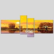 Handgeschilderde Landschap Schilderijen + Prints,Modern Klassiek Vier panelen Canvas Hang-geschilderd olieverfschilderij For Huisdecoratie