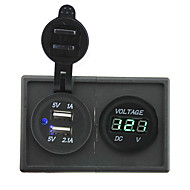 12V / 24V 3.1a kettős USB aljzat és vezette voltmérő házzal tartó panel autó hajó teherautó rv