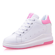 Women's Sneakers Spring Summer Fall Winter Creepers Leather Outdoor Office & Career Casual Wedge Heel Lace-up Black Pink White Walking