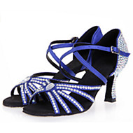 Sapatos de Dança(Preto Azul Marrom Vermelho) -Feminino-Personalizável-Latina