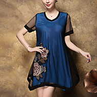 Women's Plus Size Going out Street chic Loose Dress,Embroidered V Neck Above Knee Short Sleeve Polyester Blue Red Summer Mid Rise