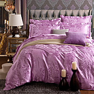 Blumen Bettbezug-Sets 4 Stück Polyester Luxuriös Reaktivdruck Polyester ca. 1,50 m breites Doppelbett1 Stk. Bettdeckenbezug 2 Stk.
